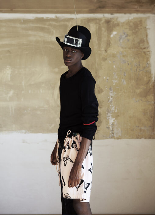 Irene Heldens X Calico Jack RE-DESIGN sustainable fashion collection - Will Falize - Destroyed knit sweater - Black butterfly pants