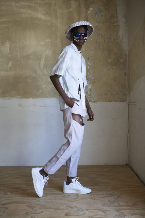 Irene Heldens X Calico Jack RE-DESIGN sustainable fashion collection - Will Falize - Pastel cut-out pants and shirt