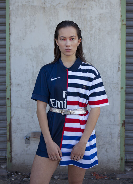 Irene Heldens X Calico Jack RE-DESIGN sustainable fashion collection - Will Falize - Soccer shirt woman
