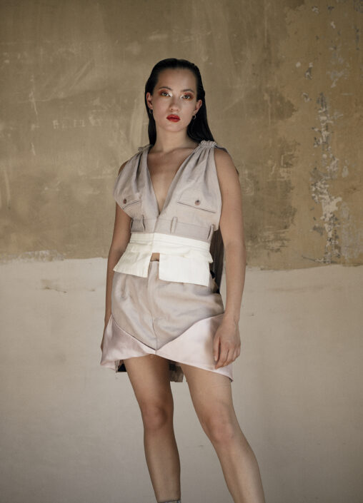 Irene Heldens X Calico Jack RE-DESIGN sustainable fashion collection - Will Falize - Upside down top and skirt